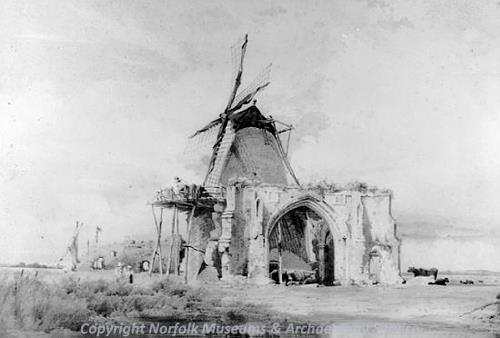 Photograph of a pen and wash drawing of St Benet's Abbey by J. Thirtle.