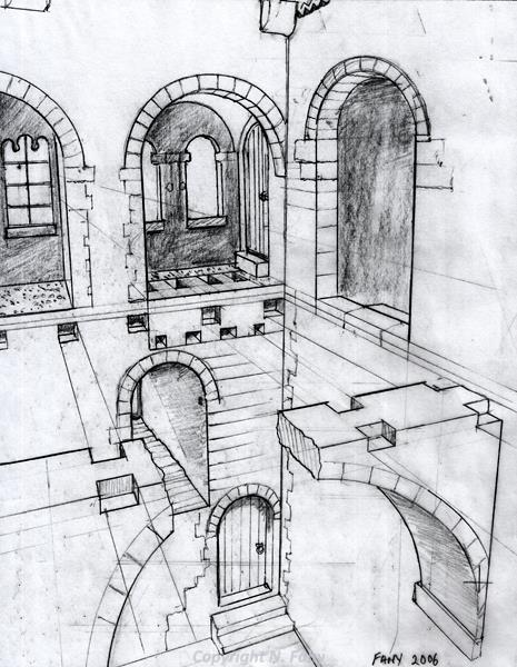 Perspective sketch of the Lobby (reconstruction) at Castle Rising Castle.