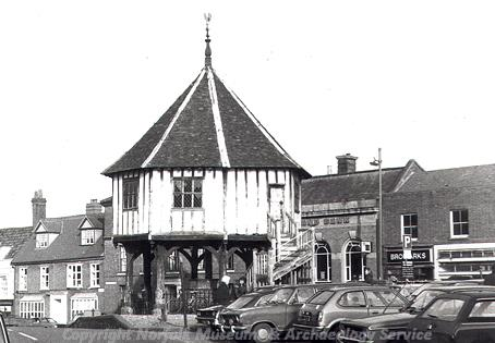 An old photograph of the Market Cross in Wymondham. Probably taken in the 1970s.