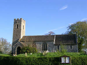 St Andrew's Church, Attlebridge, showing the 13th nave and chancel and the 15th century tower and south porch.