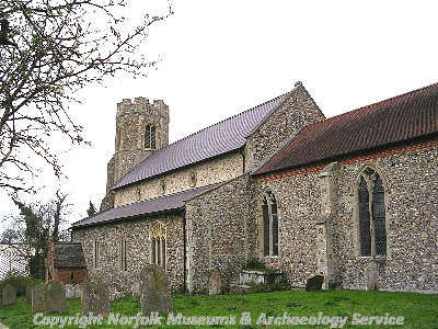 St Peter's Church, Billingford showing the aisled nave.