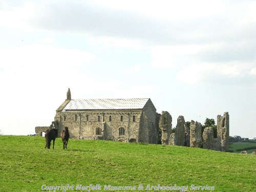 The ruins of Binham Priory from the south.