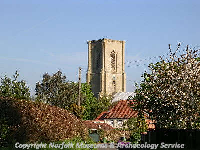 The late 14th or early 15th century west tower of St Agnes' Church, Cawston.