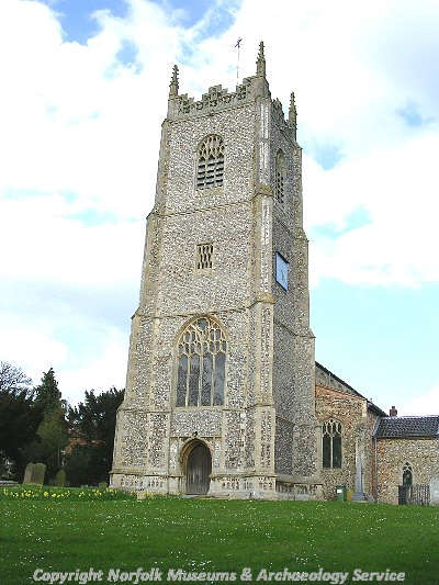 The late 15th century west tower of Holy Innocent's Church, Foulsham.