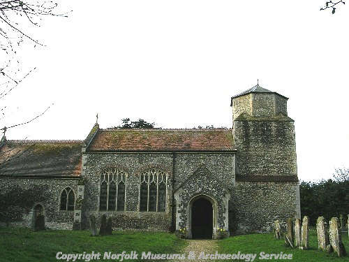 St Paul's Church in Thuxton showing the short west tower with octagonal top and the north wall of the nave, parts of which may date to the Late Saxon period.