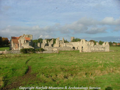 The Priory ruins from the south, showing the Prior's Lodgings and the cloisters.