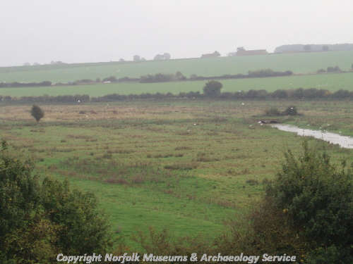 View of the early 19th century water meadows at Castle Acre