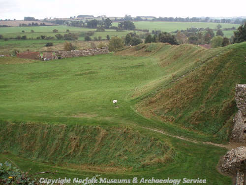 The earthworks in the bailey taken from the keep.