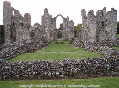 View from the east end of Castle Acre Priory church.