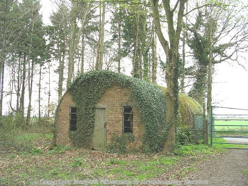 World War Two Nissen hut at the edge of Hockering Wood.