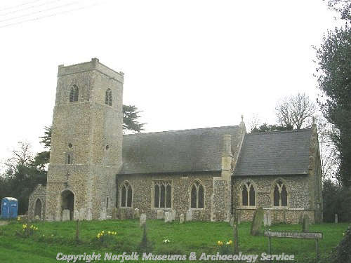 St Peter's Church, Little Ellingham. From left to right are the tower, nave and chancel.