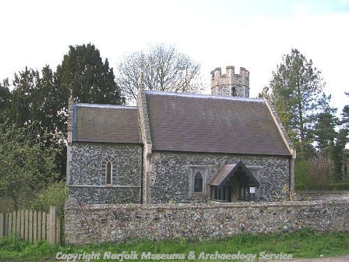 All Saints' Church, Santon, showing the 19th century nave, tower and chancel.