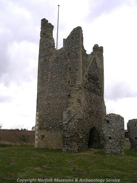 The ruins of the church at Pudding Norton, which incorporates some Late Saxon or Norman work.