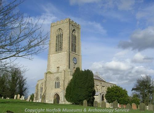 The late 14th century tower of All Saints' Church, Swanton Morley