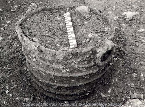 An Early Saxon bucket from the Early Saxon cemetery at Morningthorpe.