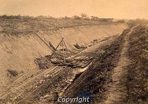 Photograph of 1874 excavation of Roman enclosure during the construction of the railway.