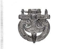 Roman military buckle with fleur-de-lys pin.