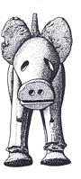 Drawing of Iron Age boar figurine.