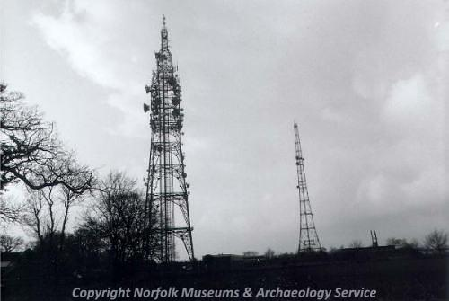 View of the two World War Two radar masts known as Stokes Masts.