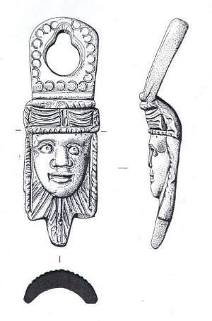 Illustration of Roman vessel mount from Great Dunham, showing front view and side view.