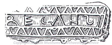 Illustration of a Roman mortaria stamp.