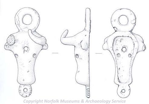 Illustration of an Iron Age or Roman vessel mount in the shape of a bull's head, showing front, side and rear view.