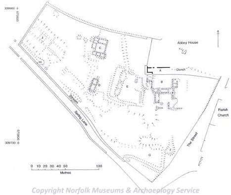 Earthwork plan of Marham Abbey showing the remains of the abbey church, the cloisters and other buildings.