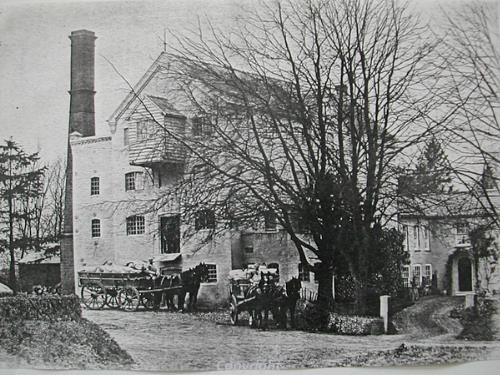 View of the water mill before it was destroyed by fire in 1914.