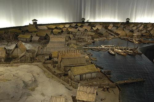 Model of Birka, in the Museum of National Antiquities, Stockholm, Sweden. Similar to early Great Yarmouth