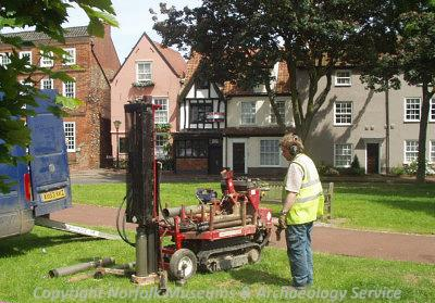 Borehole drilling outside Sewell House, Great Yarmouth