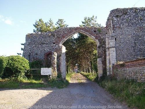 View of the northern gatehouse at Broomholm Priory taken from Abbey Street.