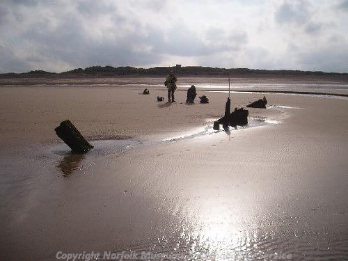 View of the upright timbers of a wreck found during the Norfolk Rapid Coastal Survey in 2004.