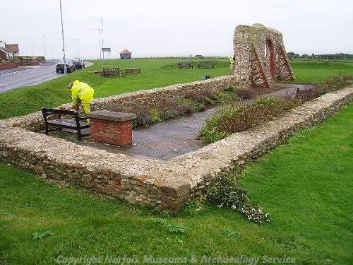 The remains of the medieval chapel of St Edmund and the World War One memorial garden.
