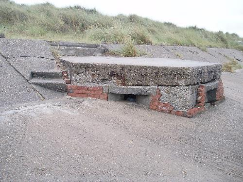 A World War Two pillbox built into the sea wall.