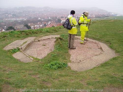The concrete base of a World War Two observation post.