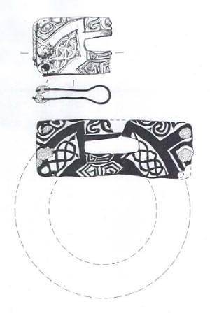 Illustration of a Middle Saxon buckle plate made from an 8th century mount, showing the decoration on both sides.