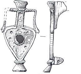 Illustration of Roman flagon brooch. The central disk is dark blue enamel, the small discs are white enamel and the background has fragments of red enamel.