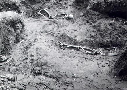 The excavation of a Roman inhumation cemetery in the 1960s.