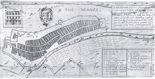 Paston's development map of Little Yarmouth, 1668