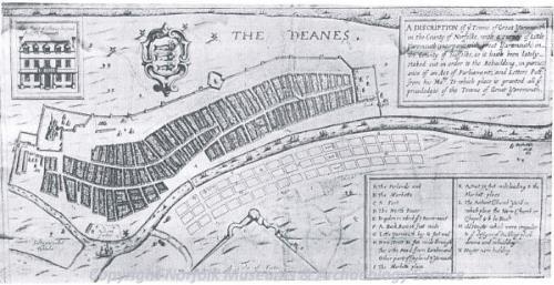 Paston's development map of Little Yarmouth, 1668