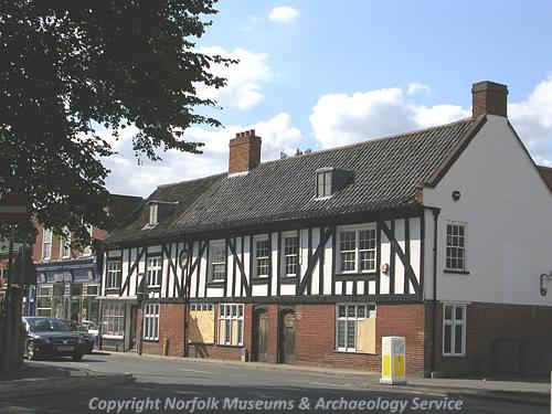 20th century Tudor-style facade of the community centre, seen from the corner of Besthorpe Road and Surrogate Street.