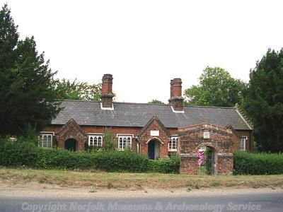 View of the almshouses in East Bilney, built in 1839.