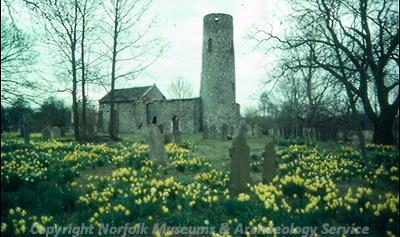 The ruins of St Theobalds' Church, showing the Late Saxon round tower.