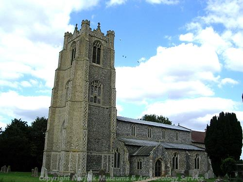 The four stage tower of St Andrew's church was started in the 13th century and altered in the 15th century.